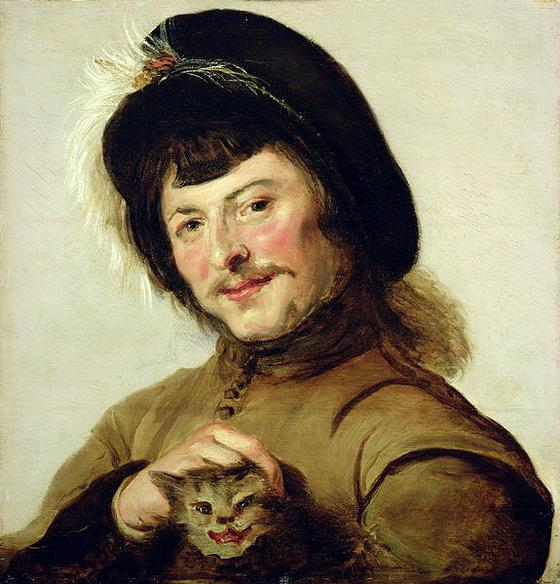 KSL247486 A Young Man with a Cat, 1635 (oil on panel); by Hals, Frans (1582/3-1666) (Follower of); 45.5x43 cm; Gemaeldegalerie Alte Meister, Kassel, Germany; © Museumslandschaft Hessen Kassel; PERMISSION REQUIRED FOR NON EDITORIAL USAGE; MANIPULATION OF THE IMAGE FORBIDDEN; Dutch, in copyright